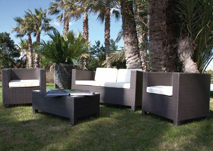 Set mobili da giardino maratea marrone papillon for Salottini da giardino offerte