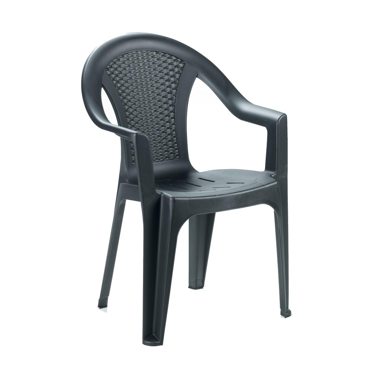 Sedia da giardino plastica ischia effetto rattan impilabile con braccioli colore antracite - Sedie plastica design ...