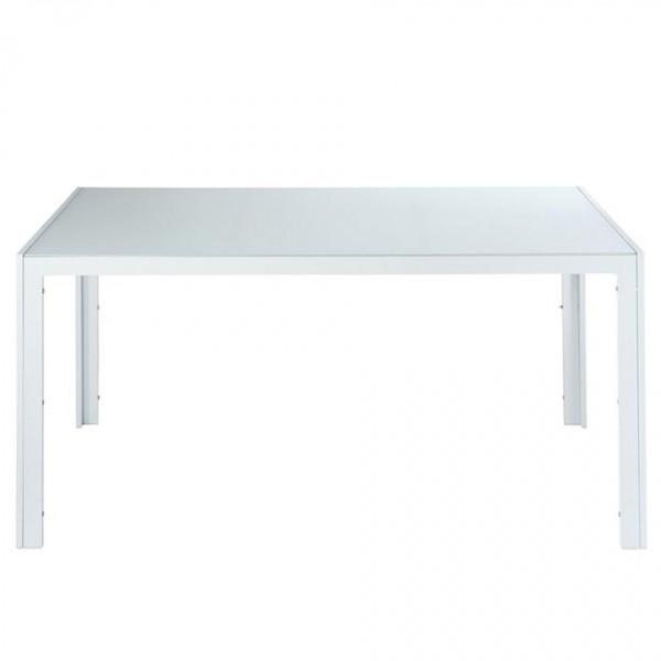 Tavolo in alluminio Sunset rettangolare con ripiano in vetro temprato.