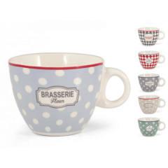 Tazza tè Brasserie decori assortiti new bone china 240 ml H&H