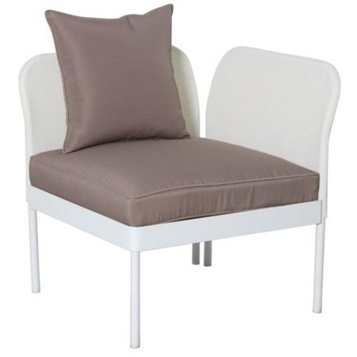 Divano perla angolare acciaio bianco cuscino tortora 73x73x75h cm - Divano angolare tortora ...