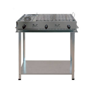 BARBECUE GAS INOX BIG CAMPING COMPLETO DI KIT RUOTE BEP