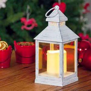 Lanterna Bianco Antico con Candela LED effetto Fiamma a Batteria