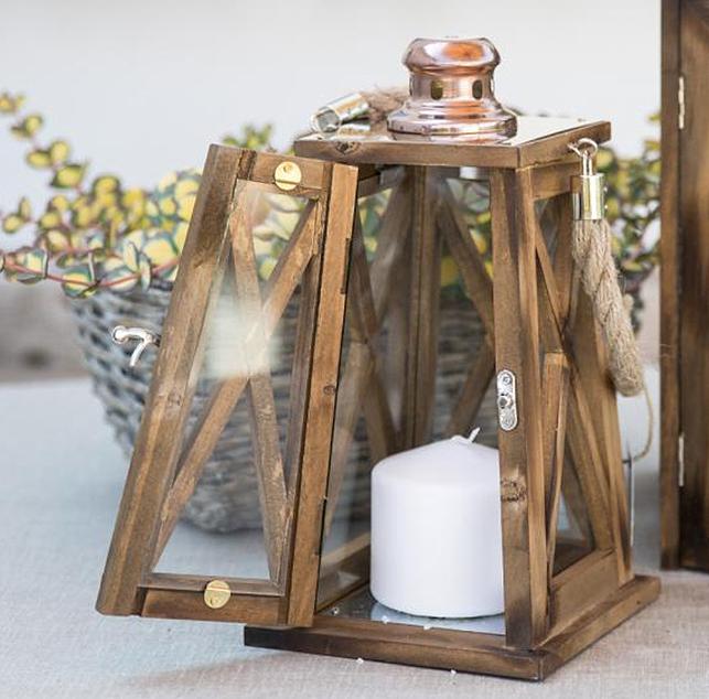 Lanterna in legno naturale conica ocean h h 15x15xh30 cm for Lanterne in legno