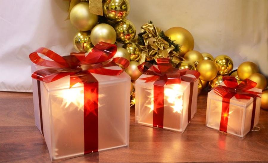 Pacchi Natale Luminosi.Set 3 Pacchi Regalo Magic 3d Led Classic Luce Fissa E Flashing A Batteria