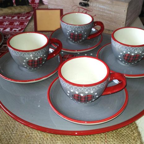 Servizio tazze caffè decoro cuore con piattino in ceramica H&H