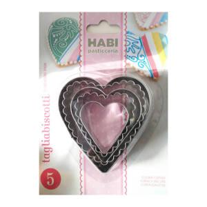 Set stampi tagliabiscotti in acciaio inox cuore habi