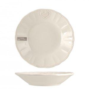 Piatto Celine in ceramica stoneware H&H avorio