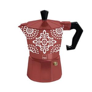 Caffettiera Tazze 3 Alluminio Linea Ellen H&H rossa con decori
