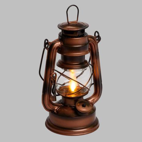 Lanterna Old Style Rame Fiamma LED in movimento a Batteria