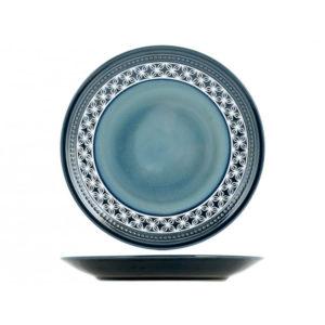 Piatto piano Minorca H&H stoneware blu 28 cm