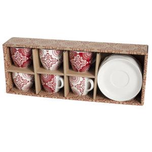 Set 6 Tazze Caffè Ellen con Piatto Bone China Bianco/Rosso H&H