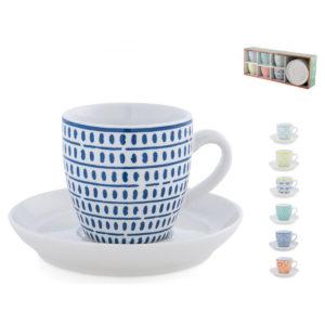 Set 6 Tazze Caffè Full Decoration in porcellana decorata H&H