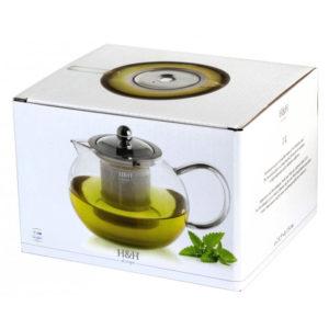 Teiera in vetro borosilicato con filtro inox H&H 1 L