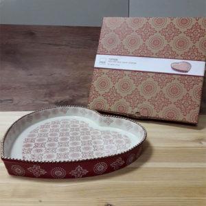 Tortiera Cuore in Stoneware Ellen Rosso H&H 30x28 CM