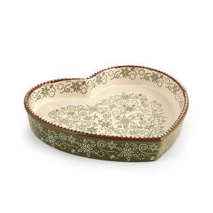 Tortiera Cuore in Stoneware Ellen Verde H&H 20×19 CM