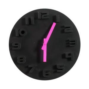 Orologio parete a batterie tondo nero e rosa 30 cm HOME
