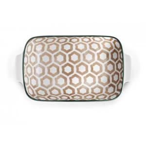 Pirofila rettangolare con manici porcellana decorata H&H 16x24 cm
