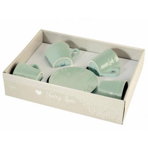 Set 4 tazze tè con piattino Fairylove in stoneware H&H 200 ml