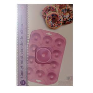 Stampo 12 Mini Ciambelle 5 cm in Silicone Rosa Habi