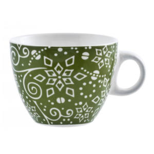 Tazza Tè Ellen new bone china colori assortiti 230 ml H&H verde decoro bianco