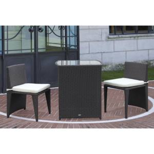 SALOTTINO POLYRATTAN TAVOLARA PAPILLON MARRONE