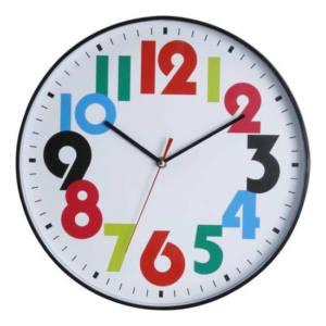Orologio da parete con sfondo bianco e numeri colorati 35 cm