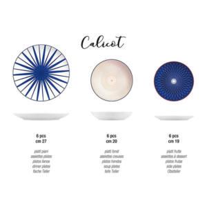 Servizio Piatti Tavola Calicot in porcellana 18 pezzi H&H