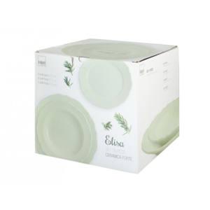 Set piatti Elisa 18 pezzi in ceramica verde H&H