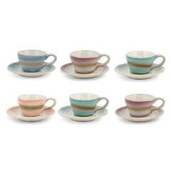 Set 6 Tazzine caffè con Piattino Stoneware H&H Java 90 ml