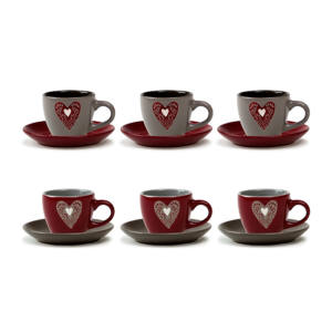SET 6 TAZZE CAFFE' CON PIATTINO CUORE LOVE 90 CC