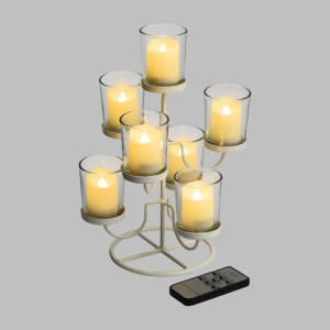 Candeliere Metallo Bianco 7 Candele LED Classic a Batteria 19xH28,5cm