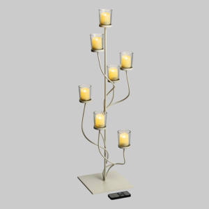 Candeliere Spirali Metallo Bianco 7 Candele LED CLASSIC 23xH76cm