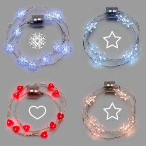 Collana Brilly Xmas10 Natale Microled Batteria Portatile Cavo Metal Ø20cm