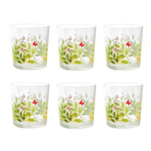 6 Bicchieri Acqua Decorazione Floreale Pasabahce Faralya 36 cl