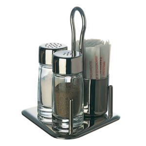 Set 3 pezzi in vetro e acciaio sale, pepe, stecchini Piazza
