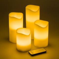 Set 4 Candele Avorio LED Classic Effetto Fiamma H 10 - 12,5 - 15 - 18 cm