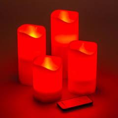 Set 4 Candele Rosse LED Classic Effetto Fiamma H 10 – 12,5 – 15 – 18 cm
