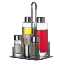 Set 5 pezzi in vetro e acciaio olio, aceto, sale, pepe, stecchini Piazza