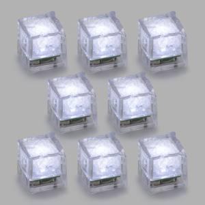 Set 8 Cubetti Ghiaccio Ice Cube Galleggianti LED Bianco Fisso H 2,7 cm