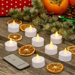 Set 8 Tea Light Fiamma 1 LED Classic Telecomando Fiamma Ø3,5xH3,8cm