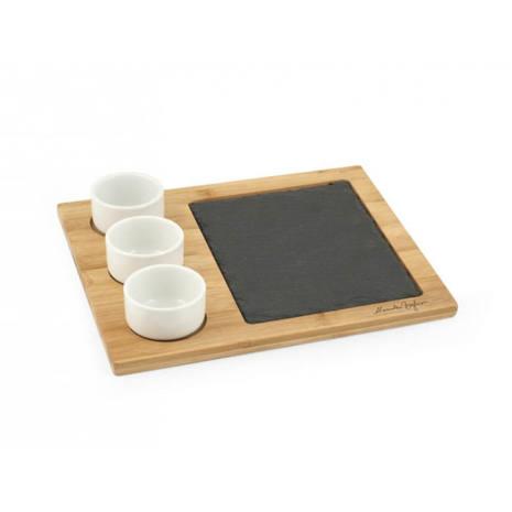 Set aperitivo 5 pezzi in ardesia bamboo e porcellana H&H 24x28 cm