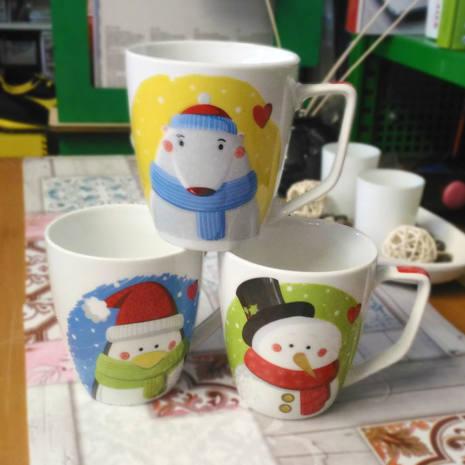 Tazza mug in porcellana H&H Decori Assortiti 360 cc NATALE