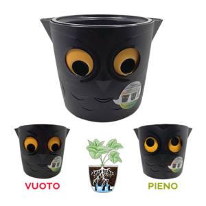 Vaso resina gufo per piante con indicatore livello riserva acqua