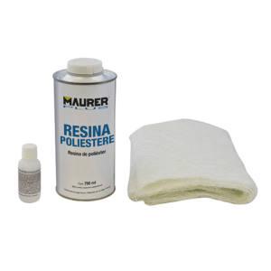 Kit vetroresina 750 ml resina poliestere + catalizzatore + lana vetro Maurer