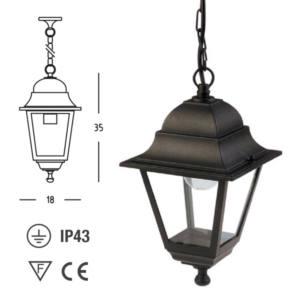 Lanterna esterno alluminio E27 35x18x18 cm mini charme sospesa Papillon