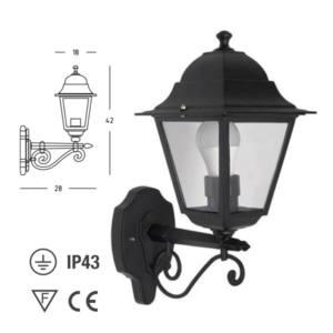 Lanterna esterno alluminio attacco E27 28x42x18 cm Alto Charme Papillon