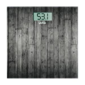 Bilancia Pesapersone in vetro temperato con serigrafia legno Laica 180 kg