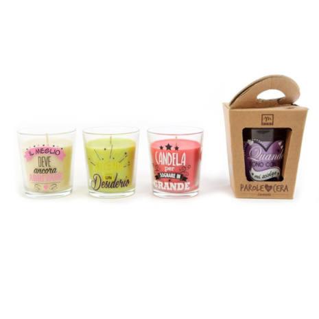 Candela bicchiere vetro decorato con frasi varie profumazioni e colori 9 cm