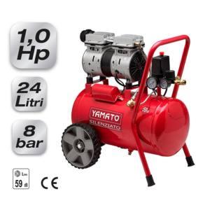 Compressore Oilless Carrellato Silenziato 24 Litri 8 Bar 1 Hp Yamato